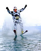 John Figliolini of Dover, NH, participated in Attitash's pond skimming event, held on 4/4/09. Over 80 skiers of many species took part in the light-hearted event at the Bartlett, NH ski area.