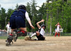 Melissa Chick, of the Kennett High Eagles, scores on a wild pitch, during Class 1 girls softball playoff action, held June 6th,  in North Conway, NH.  Kennett fell to the John Stark Generals, of Weare NH, 4-3.