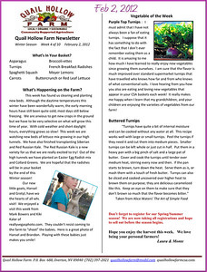 Newsletter February 2 2012news and photos in February 2012 from Quail Hollow Farm CSA Moapa Valley community supported agriculture Contact Laura and Monte Bledsoe at 702-397-2021 Email quailhollowfarm@mvdsl.com Visit Quail Hollow Farm website ww.quailhollowfarmcsa.com Photographs in this public online gallery free downloads for Quail Hollow Farm by Mark Bowers of ReallyVegasPhoto.com