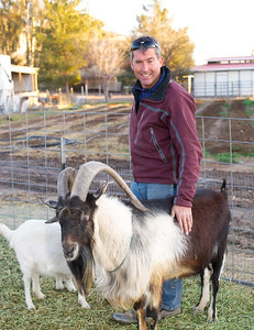 Monte and LouieG in this picture at Quail Hollow Farm. LouieG is the proud father of baby goats Hansel and Gretel. LouieG is incredibly friendly he likes to stand on the feed bin and look you right in the eye.