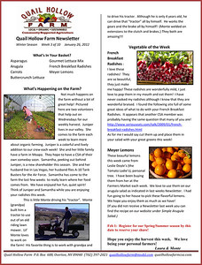 Newsletter January 26 2012 news from Quail Hollow Farm CSA Moapa Valley community supported agriculture Contact Laura and Monte Bledsoe at 702-397-2021 Email quailhollowfarm@mvdsl.com Visit Quail Hollow Farm website ww.quailhollowfarmcsa.com Photographs in this public online gallery free downloads for Quail Hollow Farm by Mark Bowers of ReallyVegasPhoto.com