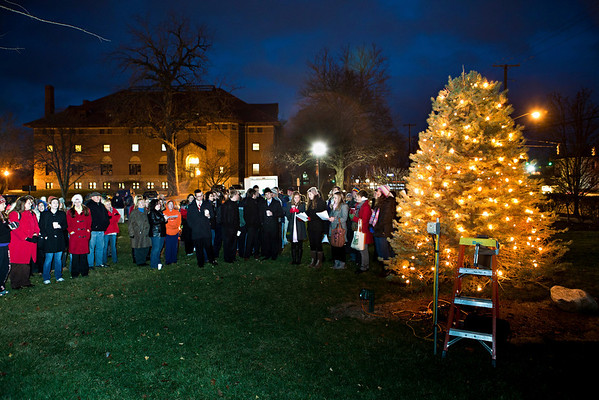 "The singing group ""Pitch Black"" performs at the annual lighting of the Hudler Memorial Christmas tree on the campus of Ohio Wesleyan University Sunday evening December 5, 2010. About 100 people turned out for the third annual event which pays homage to OWU 1956 alumni Ron Hudler who died in 2008 and operated a christmas tree farm after a successful business career.   