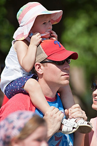 Kevin Crawford gives a high platform for his daughter Madelyn, 2, during the Worthington Memorial Day Parade held Monday May 30, 2011 on High Street in downtown Worthington.
