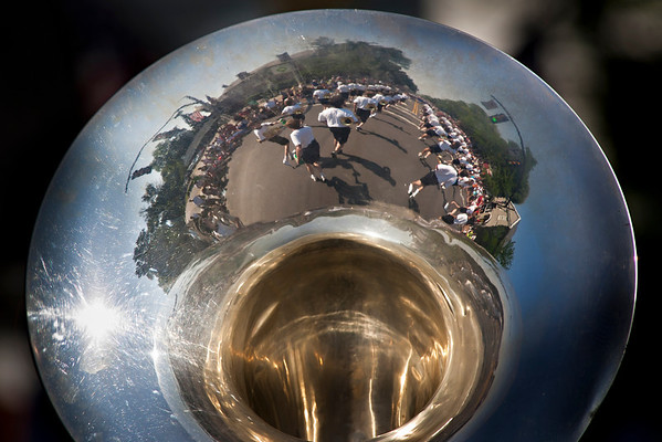 Reflections in the tuba of the Thomas Worthington Marching Band during the Worthington Memorial Day Parade held Monday May 30, 2011 on High Street in downtown Worthington.