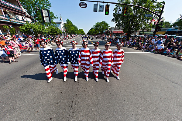 """""""The Living Flag"""", a group of ladies from Centerburg, Ohio march during the Worthington Memorial Day Parade held Monday May 30, 2011 on High Street in downtown Worthington."""