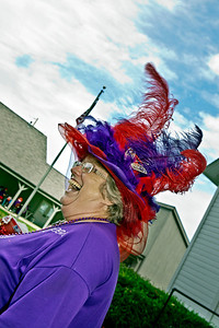 Queen Mum Purple Aura Lucy Jamison laughs at jokes at a gathering of the Red Hat Ladies at Weaver Park in Hilliard, Ohio Sunday afternoon September 25, 2011.  Several dozen ladies from through-out the state attended the event.