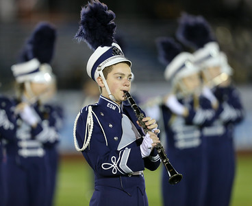 Eastport South Manor High School performs at the 55th Annual Newsday Marching Band Festival at Mitchel Field Athletic Complex in Uniondale on Thursday, Oct. 19, 2017. (Credit: Chris Bergmann)