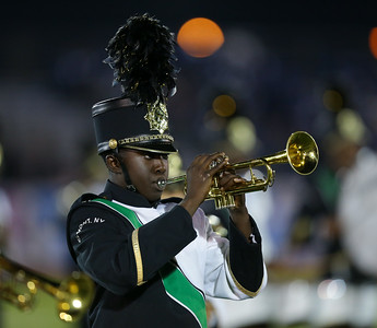 Elmont High School performs at the 55th Annual Newsday Marching Band Festival at Mitchel Field Athletic Complex in Uniondale on Wednesday, Oct. 18, 2017. (Credit: Chris Bergmann)