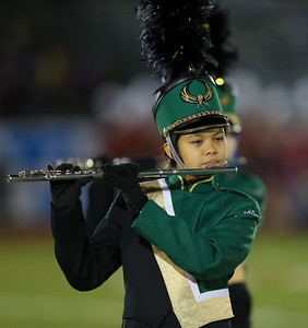Lynbrook High School performs at the 55th Annual Newsday Marching Band Festival at Mitchel Field Athletic Complex in Uniondale on Thursday, Oct. 19, 2017. (Credit: Chris Bergmann)