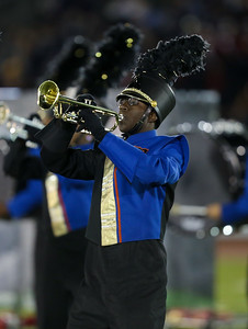 Malverne High School performs at the 55th Annual Newsday Marching Band Festival at Mitchel Field Athletic Complex in Uniondale on Thursday, Oct. 19, 2017. (Credit: Chris Bergmann)
