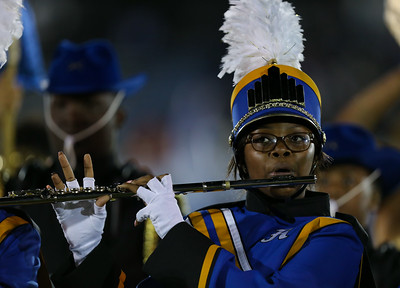 Roosevelt High School performs at the 55th Annual Newsday Marching Band Festival at Mitchel Field Athletic Complex in Uniondale on Wednesday, Oct. 18, 2017. (Credit: Chris Bergmann)