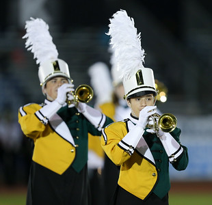 Three Village Patriot Marching Band performs at the 55th Annual Newsday Marching Band Festival at Mitchel Field Athletic Complex in Uniondale on Wednesday, Oct. 18, 2017. (Credit: Chris Bergmann)