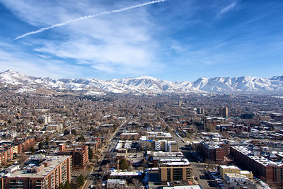 View from the 26th floor of the LDS Office Building in downtown Salt Lake City
