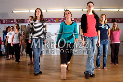 9/27/2008 Mike Orazzi | The Bristol Press Dancers Taylor Hira (center) during rehearsals for the 2009 Miss Bristol Pageant and the Teen Miss BristolPageant at the Dance Arts Center on Saturday morning.