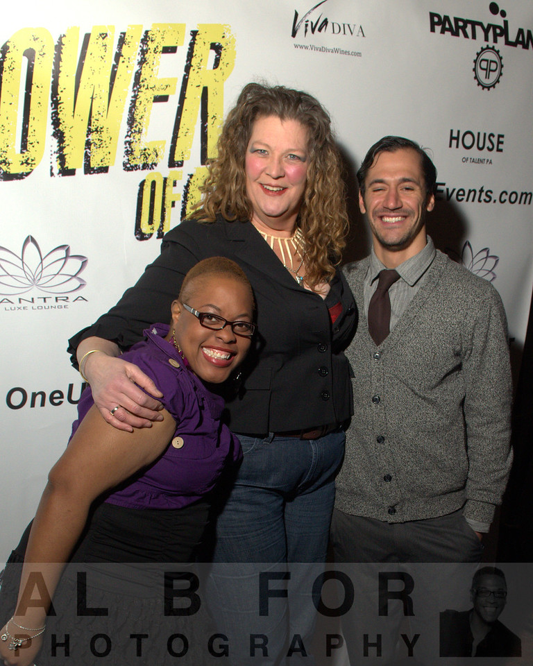 "TS Hawkins (Producer PR Radio Station), Kim Blacklock (Actress, ""The Power of Few,"" an independent action-drama, Also the worlds 10th tallest women, 6' 5½"" (1.97 m.)) with Gavin Dirusso (Party Planner)"