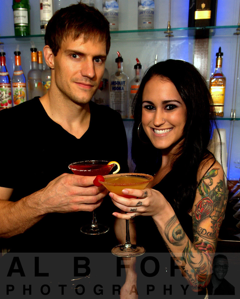 Bob Szabo and Michelle Pagano serving a Peach sunrise and a Looptini (Al B. For / Philly.com)