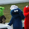 Cookie mighta had a few too many with his buds Shrek and Elmo