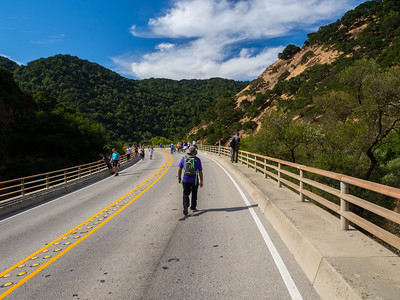 Crossing Alameda Creek. Sunol, CA, USA  Photo from the Niles Canyon Stroll & Roll event. For the event, the section of State Route 84 between Sunol, CA and Fremont, CA is closed down for pedestrians and bikers.