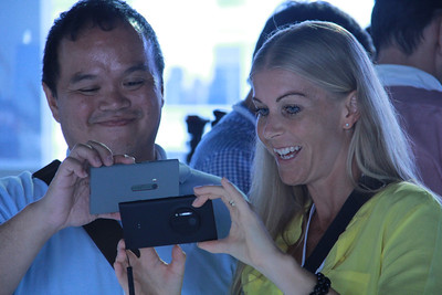 All smiles -- and yellow -- at the Nokia Lumia 1020 event.