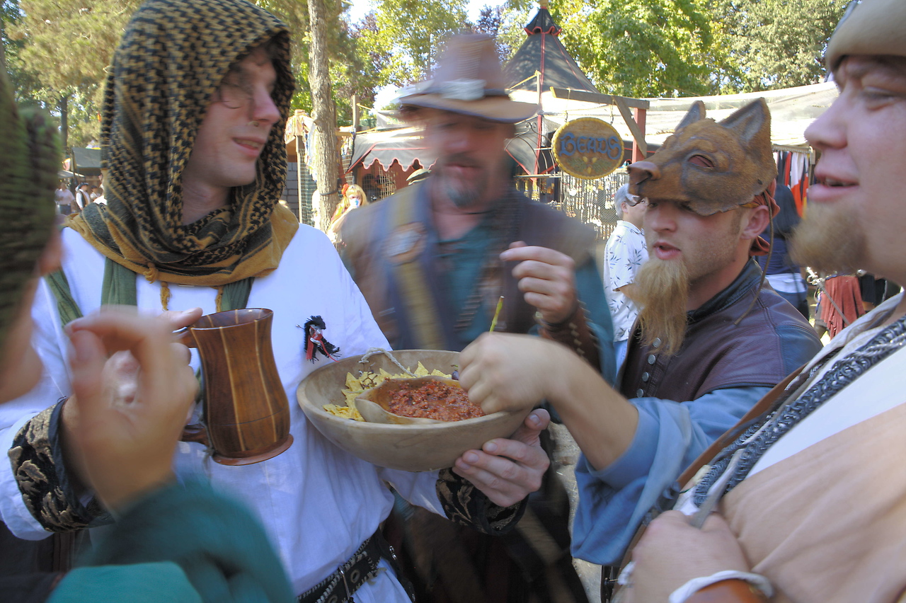 Food goes fast at the faire.  But you have to pay for most of it.