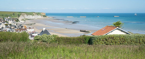 Looking west over Arromanches, which is toward the west end of Gold Beach
