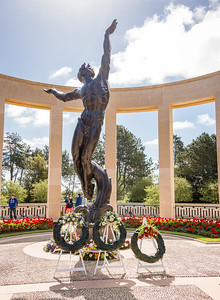 """The Spirit of American Youth Rising from the Waves"" is the focal point of the memorial area.  It faces west toward the cemetery."