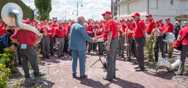 Henri-Jean Renaud stopped by to welcome the band.  His father was Mayor in 1944.