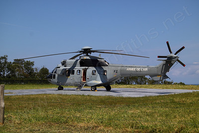 Helicopter from the French Air force used in the practice runs for the US and French Presidents visit the following day