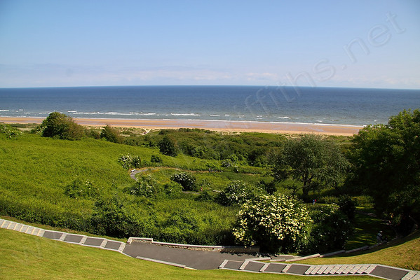 View of Omaha from the path that leads to the Cemetery. The steps below lead you down to Omaha beach