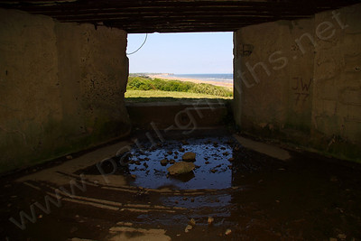View from inside one of the gunnery positions overlooking Omaha beach. The Germans had a clear view of the incoming American troops