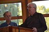 Fr. Maurice Légaré (right) and Fr. Bob Tucker, members of the planning committee, welcome SCJs to the conference.