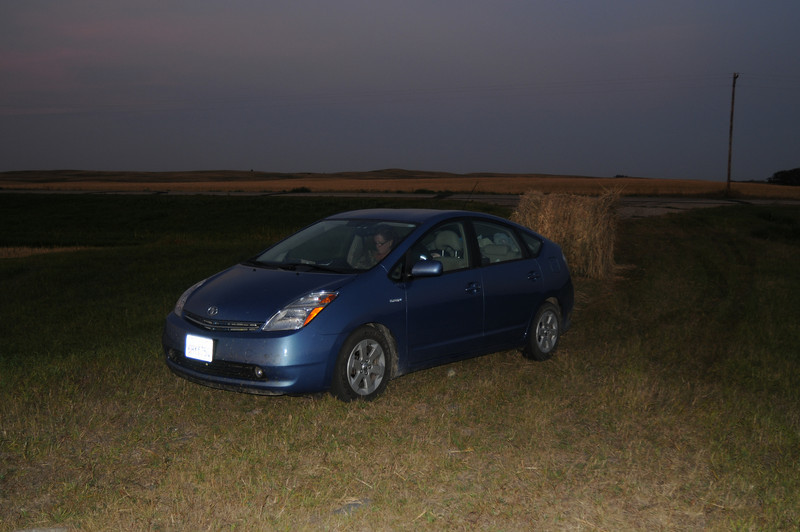 Prius in farm field