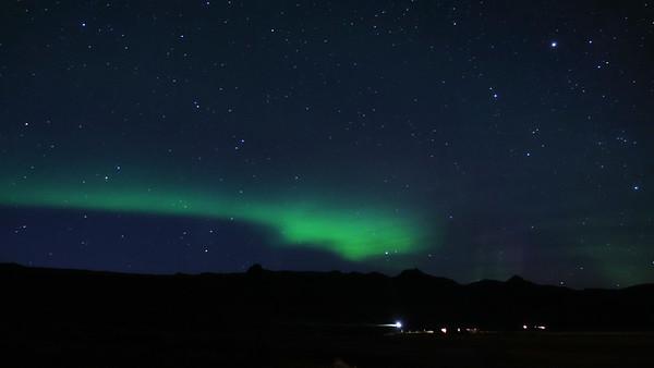Northern Lights Sept. 5, 2018  outside Hotel Budir