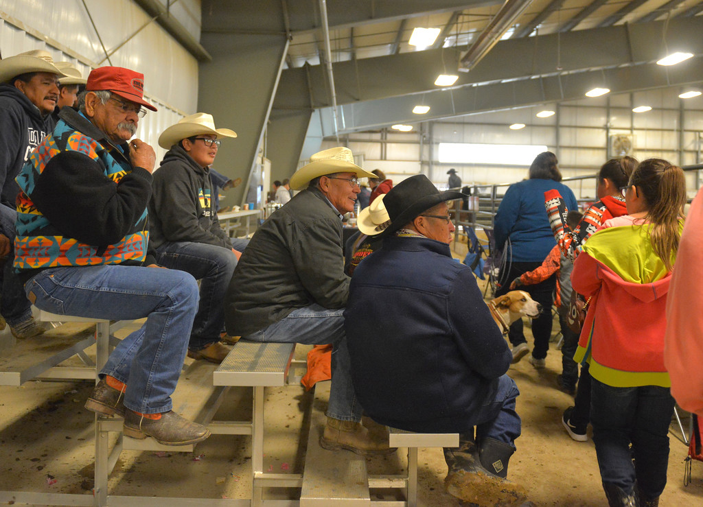 Justin Sheely | The Sheridan Press<br /> People wait for the rodeo to begin during the performance of the Northern Plains Indian Rodeo regional finals Saturday at the Sheridan College AgriPark.