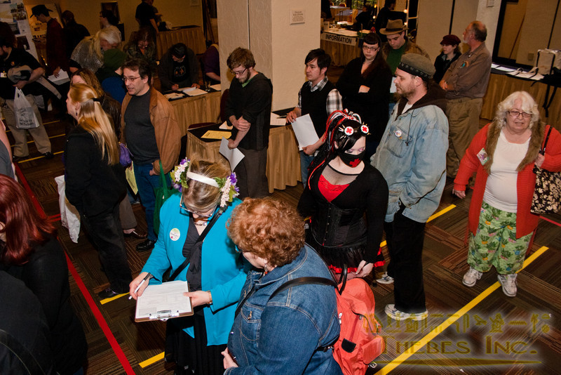 In line at con registration