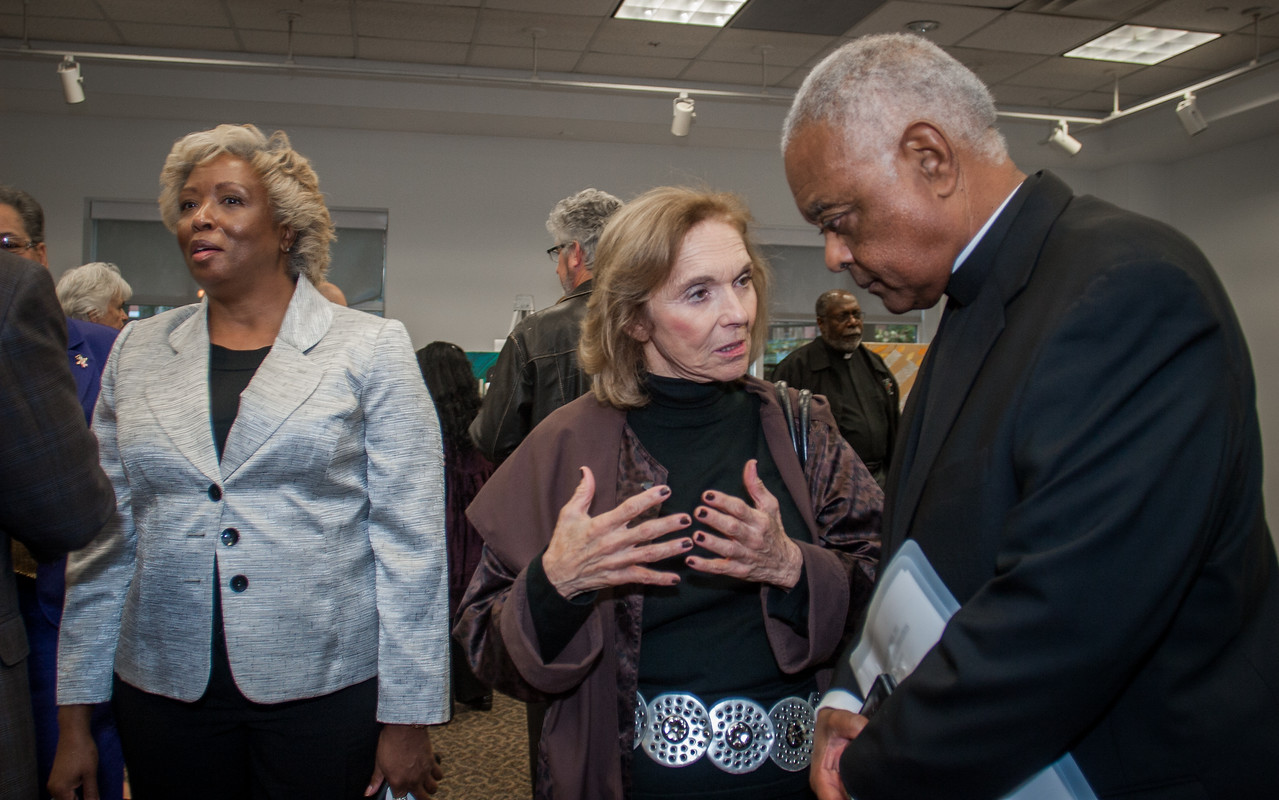 Archbishop Wilton D. Gregory and Rabbi James Rudin, senior advisor for interreligious affairs for the American Jewish Committee, hosted the celebration of 50 years of dialogue, friendship and reparation in Jewish-Catholic relations with an evening of art, music and faith on Wednesday, Oct. 28, at the Ferst Center at Georgia Tech. The jubilee celebration culminates a year of activities marking the 50th anniversary of ÒNostra Aetate,Ó the document of the Second Vatican Council, which for the first time in history called for Jewish-Catholic dialogue and affirmed respect for non-Christian world religions. Archbishop Gregory said the arts evening, Òbrings together expressions of our artistic treasures from both of our communities that we will share with each other to highlight the impact of ÔNostra AetateÕ and the importance of the ongoing friendship between the Jewish and Catholic community in the Atlanta area.Ó (Photo by Thomas Spink)