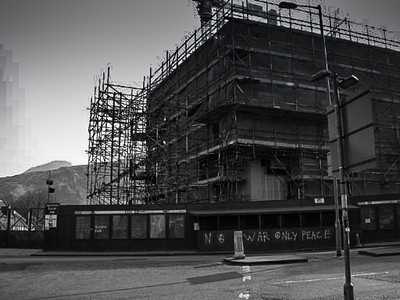 New Scottish Parliament Building under construction, Edinburgh