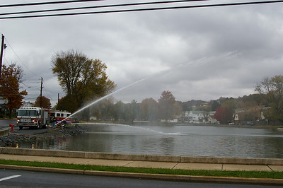 Saturday, November 10th, 2007: Despite the total loss of their station in September, firefighters  of Schuylkill Hose Co # 2, Schuylkill Haven train on a cold, wet day at Stoyer's Dam using borrowed trucks and equipment to maintain their readiness.