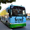 The Nuns on the Bus Ohio tour pulls up to the University of Dayton on Oct. 11 for a rally.