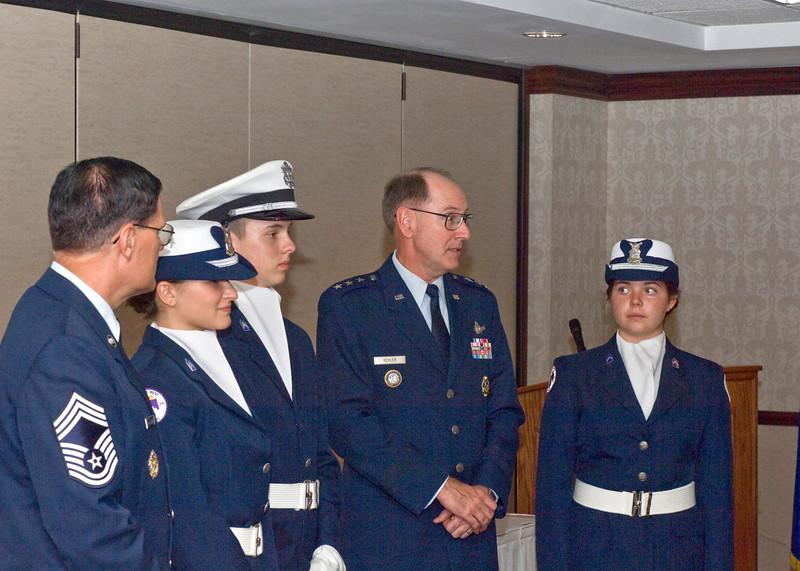 General Kehler with Bellevue West High School Jr ROTC Color Guard