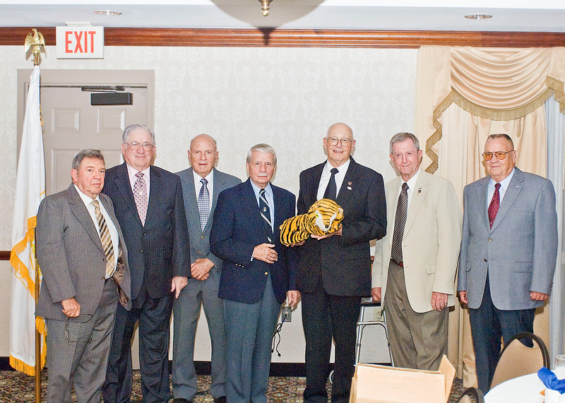 Tiger Two and her cubs:  Norm Gallant; Don Aldridge; Matt Jenkins; Ed Doucette; Fred Wyant with Tiger Two; Donn Sheeders; Fred Shannon; Jim Brooks was around somewhere.