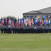 Massed flags at the parade at Lackland