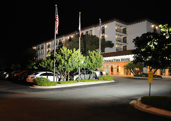 Our hotel at night