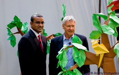 President of Guyana Bharrat Jagdeo and Harrison Ford