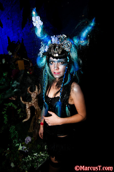 "burlesque goblin Helene Wearing headpiece by Ghoulia's Peculiars ""Be careful what you play with"""