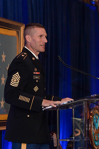 Sergeant Major of the U.S. Army Daniel A. Dailey gives his remarks during the Medal of Honor Reception at the Sheraton Pentagon City Hotel in Arlington, Va., Sept. 30, 2018. Shurer will be awarded the Medal of Honor Oct. 1, 2018, for actions while serving as a senior medical sergeant with the Special Forces Operational Detachment Alpha 3336, Special Operations Task Force-33, in support of Operation Enduring Freedom in Afghanistan on April 6, 2008.  (U.S. Army photo by Spc. Anna Pol)(U.S. Army photo by Spc. Anna Pol)