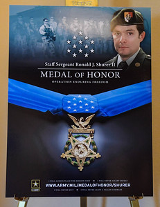 A Medal of Honor Reception is held in honor of former U.S. Army Staff Sgt. Ronald J. Shurer at the Sheraton Pentagon City Hotel in Arlington, Va., Sept. 30, 2018. Shurer will be awarded the Medal of Honor Oct. 1, 2018, for actions while serving as a senior medical sergeant with the Special Forces Operational Detachment Alpha 3336, Special Operations Task Force-33, in support of Operation Enduring Freedom in Afghanistan on April 6, 2008.  (U.S. Army photo by Spc. Anna Pol)(U.S. Army photo by Spc. Anna Pol)