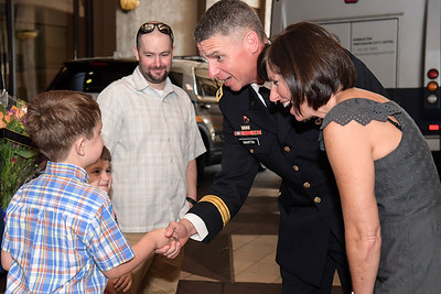 U.S. Army Lt. Gen. Martin and his wife greet former U.S. Army Staff Sgt. Ronald J. Shurer II and his family upon their arrival at the Sheraton Pentagon City Hotel in Arlington, Va., Sept. 29, 2018. Shurer will be awarded the Medal of Honor Oct. 1, 2018, for actions while serving as a senior medical sergeant with the Special Forces Operational Detachment Alpha 3336, Special Operations Task Force-33, in support of Operation Enduring Freedom in Afghanistan on April 6, 2008.  (U.S. Army photo by Spc. Anna Pol)(U.S. Army photo by Spc. Anna Pol)
