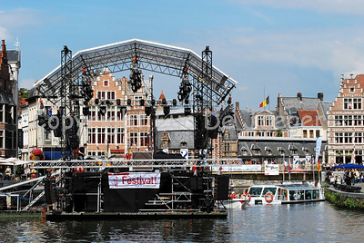 "The floating podium/stage on the river ""Leie"" between the Graslei and Korenlei in Ghent (Gent), Belgium on which, late in the evening, Barbara Hendricks would bring her concert."