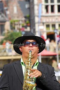 Performance of a brass band on the Graslei and Korenlei in Ghent (Gent), Belgium.
